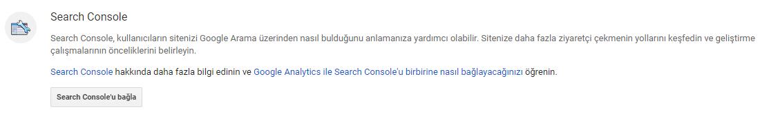 analytics search console bağlantısı
