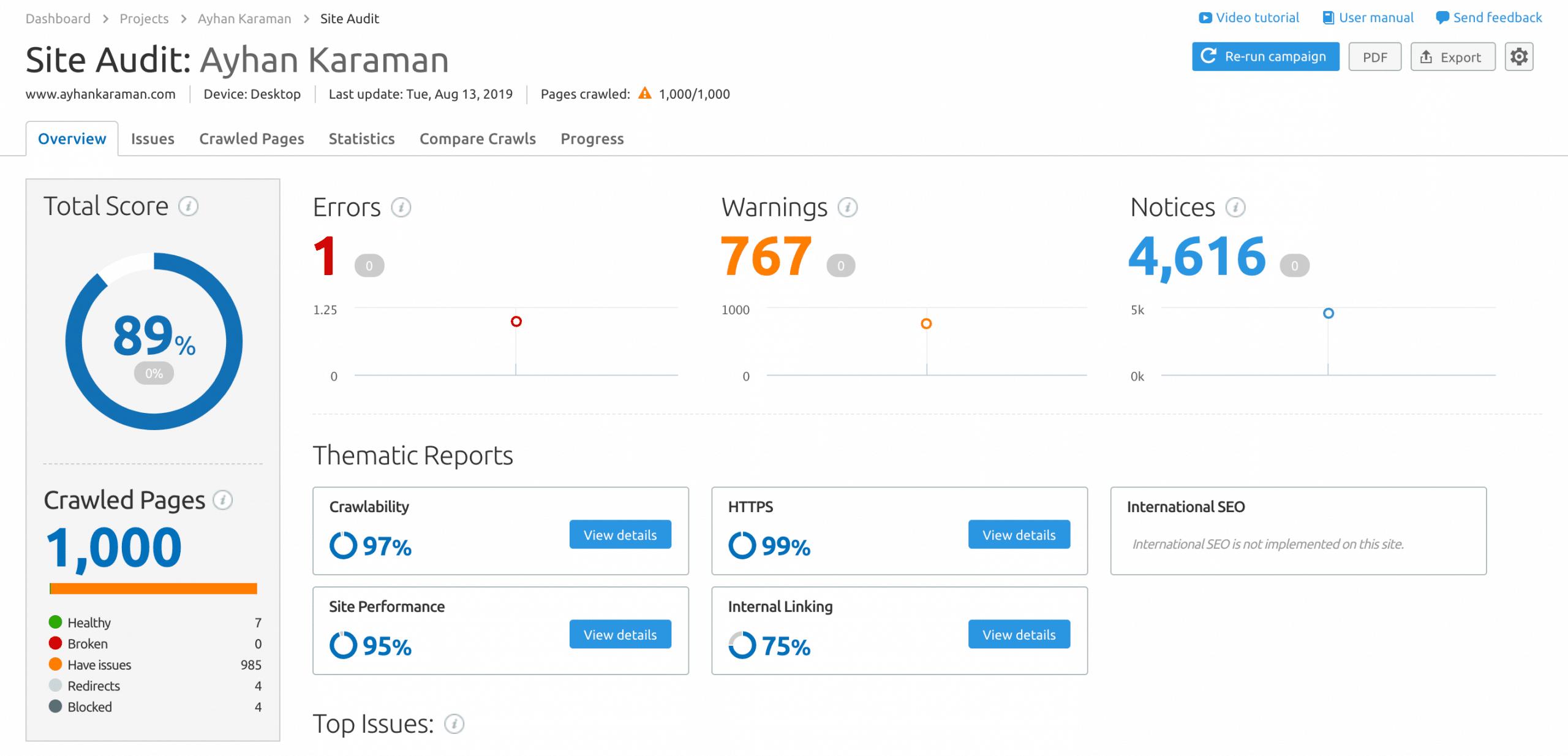 SemRush Site Analizi Ayhan