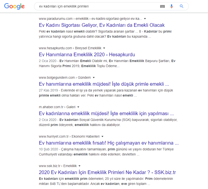 google arama motoru sonuç sayfası