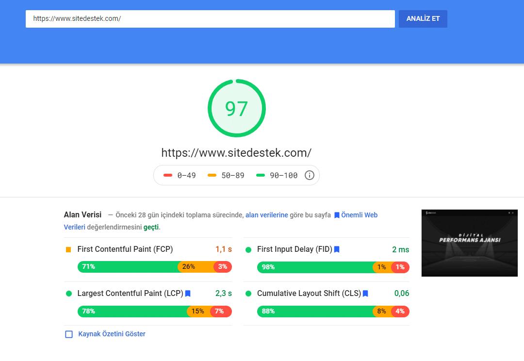 site destek performans